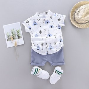 1-4 years old baby boy clothing suit cartoon T-shirt top + shorts summer newborn casual wear unisex children's clothing
