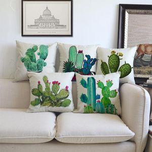 Minimalist Decor Style The Green Cactus Lovely Pattern Linen Cotton Throw Pillow Case Home Car Decorative Cushion Cover 45x45cm Cushion Deco