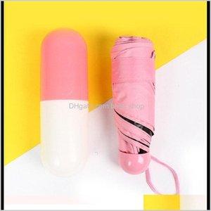Household Sundries Home Garden Drop Delivery 2021 Fashion Umbrella Sunscreen Pocket Womens Mens Outdoor Mini Umbrellas Summer Pure Color Clot