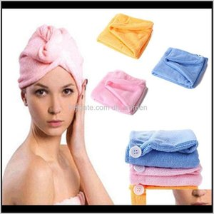 Bathroom Accessories Bath Home Garden Drop Delivery 2021 Microfiber Magic Shower Caps Women Hair Drying Turban Wrap Hat Cap Style Quick Dry G