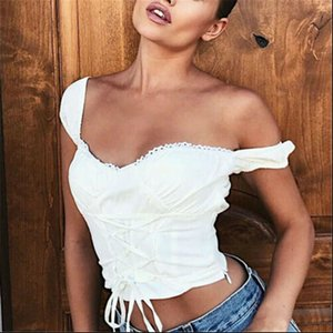 Summer Women Top Off Shoulder Womens Cami Tank Casual Vest Sleeveless Tops White Shirt Lace Ladies T