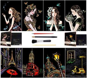 Sketch Paper A4 for Kids Adults, Rainbow Painting Night View Art&Craft, Engraving Art Set: 8 Sheets Cards & Scratch 4BDX