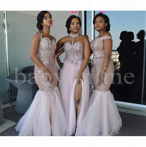 African Mermaid Bridesmaid Dresses Long Mixed Style Appliques Off Shoulder Wedding Guest Wear Split Side Maid Of Honor Gowns Prom Dress