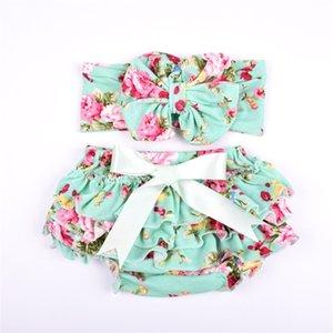 Summer baby Cotton Floral Girls Bloomer Set Green Ruffle Newborn Diaper Cover matching bunny Headband Set 2pcs Baby Shorts 0-4years 1092 V2