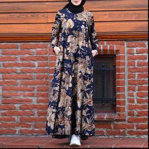 Retro Womens Dresses Dubai Abaya Turkey Hijab Dress Women Vintage Floral Printed Maxi Sundress Autumn Long Sleeve Kaftan Muslim Vestido