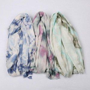 Fashion Tie Dye Maxi Scarves Wrap Muslim Hijab Headscarf Turban Africa Women Headband Sunscreen Long Shawl Soft Fringe Foulard