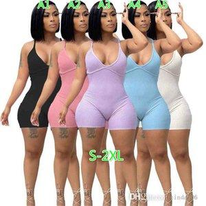 섹시한 여성 Jumpsuits Suspender rompers 솔리드 컬러 OneSise Pit Strip Bodysuit 백리스 원피스 의류