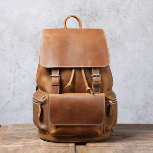 Brand Vintage Genuine Leather Backpacks Laptop School Bag Classic Handmade Travel Weekender Daypack Backpack