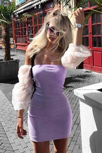Ladies Casual Dresses summer puffy long-sleeved stitching wrap chest dress card dragon color bag hip