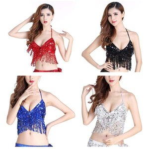 Women Fashion Sexy Latin Belly Dance Sequin Bra Tassel Top With Chest Party Club Wear Costume Stage