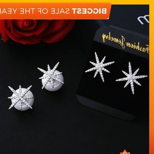 Korean rice star Pearl double side size front and back hanging S925 Sterling Silver Needle temperament versatile earrings female