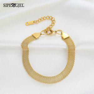 Charm Bracelets SIPENGJEL Fashion Stainless Steel Mesh Chain Bangle Wmen Man Armband Punk Couple Jewelry