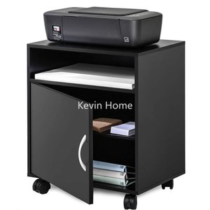 Home Storage Organization Black printer cabinet with storage drawers and wheels, suitable for home, office and workplace