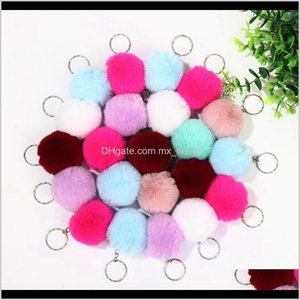 Party Favor Fur Ball Pom 8Cm Solid Color Car Keychain Handbag Card Backpack Pendant Women Key Ring Hha1542 Rsqbl Rdapq