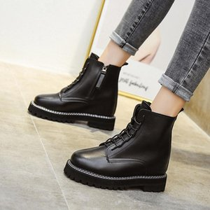 Autumn Women Motorcyle Boots Increasing Height Ankle Boot Sewing Black Platform Lace Up Booties Punk Botas Mujer 8738N