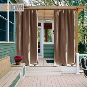 Sheer Curtains Outdoor Waterproof Nicetown Tab Top Thermal Insulated Blackout Curtain Drape for Patio Garden Front Porch Gazebo Lj201224