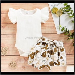 Sets Clothing Baby, Kids & Maternitybaby Summer Clothes Set Infant Baby Girls Ruffles Solid Romper Bodysuit+Floral Print Bownot Shorts Outfi