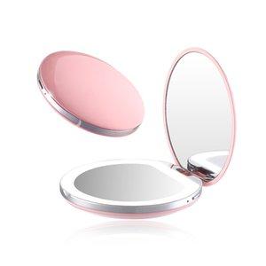 LED Light Mini Makeup Mirror Compact Pocket Face Lip Cosmetic Mirror Travel Portable Lighting Mirror 1X 5X Magnifying Foldable 1302 V2