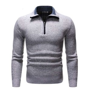 2021 Spring Men's Pullover Thick Warm Knitted Sweater Men Solid Casual Turtleneck Sweaters Half Zip Winter Warm Fleece Pullovers
