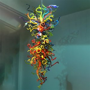 Geblasene Glas Anhänger Hängelampen Moderner Kristall Kronleuchter Beleuchtung Zhongshan Hersteller Einzigartige Licht Multi Farbe Große lange Lichter mit LED-Birnen