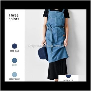 Aprons Textiles Home Garden Drop Delivery 2021 Denim For The Kitchen Unisex Work Delantal Bartender Pinafore Bib Pocket Gift Chef Cooking Apr