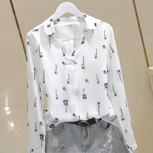 2021 new autumn Long Sleeve guitar Print Chiffon shirt ol temperament Korean version base coat female