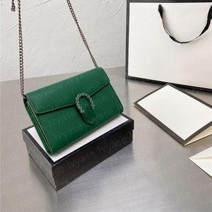 French Gentlewoman Luxurious Chain Bag 2021 Green Snakehead Mark Wallet 19CM Simple Handbag