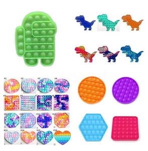 DHL finger toy Pop It Push Bubble Board Game Sensory simple dimple Stress Reliever puzzle silicone toys Rainbow Tie-dye colors