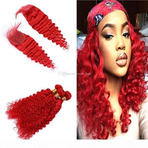 Colored Red Deep Curly Hair Weaves Bundles With Top Closure 4x4 Bright Red Color Deep Wave Hair Extensions With Closure