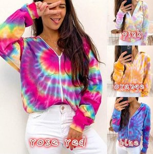 Women Zipper Hooded Cardigan Top Jacket Ladies Winter Sweaters Boutique Tops Fashion Clothes Tie-dye hoodie plus size S-5XL CZ82702
