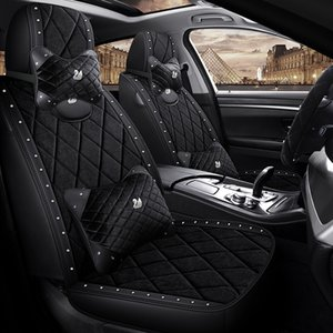 Winter season Velvet warm car seat cover drilling Crown graphics Leather surround short plush cloth Universal Protector covers for bmw