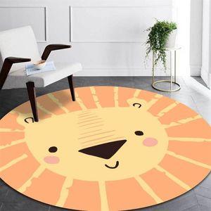 Carpets Cute Cartoon Orange Lion Round Children Rug Boy Nordic Style Kids Decoration Carpet Mat For Tent Bedroom Bedside Play