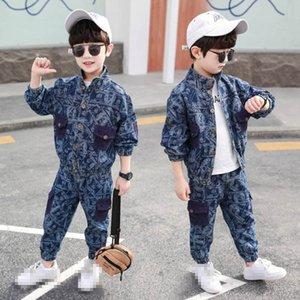 Boys Clothing Sets Boy Suit Kids Outfits Spring Autumn Denim Long Sleeve Jackets Coats Trousers Pants 2Pcs Fashion B4804