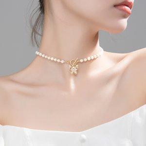 Necklaces Trustdavis Luxury 925 Sterling Silver 5mm Baroque Pearl Butterfly Choker Short Necklace for Women Wedding S925 Jewelry Da1177