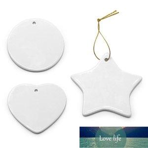 Blank White Sublimation Ceramic pendant Creative Christmas ornamentPrinting DIY ceramic ornamen decor lz0481
