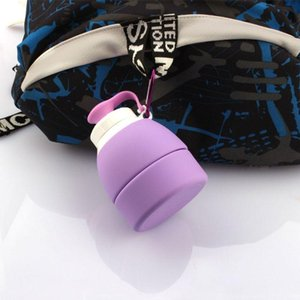 Water Bottles & Cages 580ml Silicone Folding Cup With Handle Heat Resistant Cover Lid Anti Leakage Outdoor Coffee Cups Retractable Portable