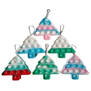 Christmas Xmas Tree Shape Fidget Key Ring Keychain Bubble Poppers Keyboard Tie Dye Sensory Push Bubbles Board Party Ornament Bag Pendant Charms G80LL0Z