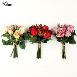 Wedding Flowers Meldel Bride Bouquet Bridesmaid Holding Artificial Silk Rose Flower 9 Heads Supplies Home Party Decor