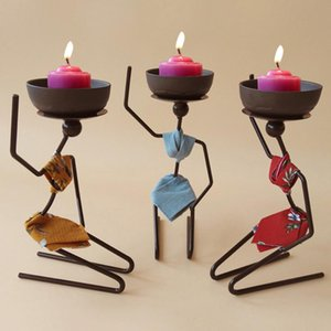 Brand Creative Wrought Iron Candlestick African Woman Style Metal Candle Holder Sconce Hand Made Marriage Party Home Decor Holders