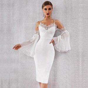Newest Summer Celebrity Party Bandage Dress Women White Off The Shoulder Flare Sleeve Sexy NightClub Lace Dress Women Vestidos1