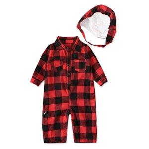 Outono bebê meninos vermelho manta manga longa algodão macacão chapéu moda cavalheiro jumpers macacões infantis recém-nascidos roupas 903 v2