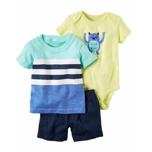 Baby Boys Cartoon Suits 23 Colros Infant Striped Rompers Letter Tops Kids Casual Clothes Boys Splice T-shirts Toddler Casual Outfit 060303