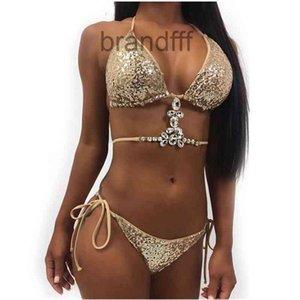 2019 Sexy Bikinis Paillettes Donne d'oro Bandage Bendage Bikini Set Push Up Imbottito Costume da bagno Costume da bagno Backless Backless Swimwear estivo Brasiliano