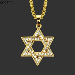 Crystal Star Hexagram Magen David Iced Out Pendant Necklace Cuban Chain Neckless Hip Hop Jewlery