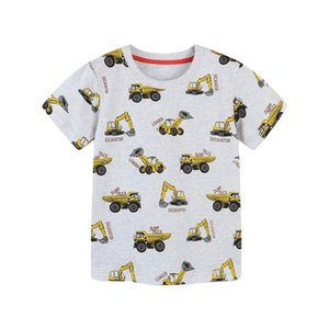 Jumping Meters Arrival Boys Summer T Shirts With Cartoon Cars Print Cotton Baby Clothes Short Sleeve Tees Kids Tops T-shirts