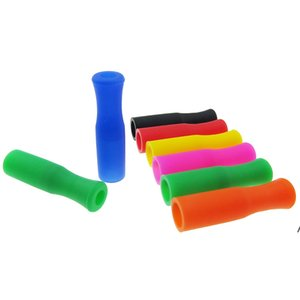 Reusable Silicone Straw Stips for 6mm Stainless Steel Drinking Straws 11 Colors Stock Food Grade Silicone Straw Tips NHC7225