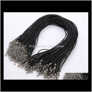 Wire Findings Drop Delivery 2021 Wholesale 2Mm Jewelry Components Lots Necklace Black Brown Real Leather Cord Lobster Clasp Fit Pendant 1Tqkq