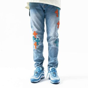 Chrome-Hearts Crosin Light Luxury Ch Cross Patch Jeans for Young Men's Slim Casual Zipper Leggings