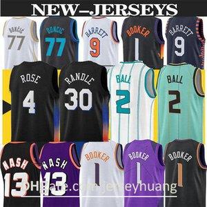 Julius 30 Randle Lamelo 2 Ball 77 Doncic 9 Barrett Ewing 33 Basketbol Forması Devin 1 Booker Steve 13 Nash Yeni Mavi Beyaz Erkekler Basketbol Formaları Üst