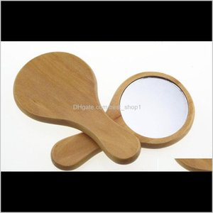 Décor Home Garden Drop Delivery 2021 Round Mini Wooden Mirror Eco Friendly Opp Packaging Cosmetic Mirrors Originality Lovely Reusable Selling